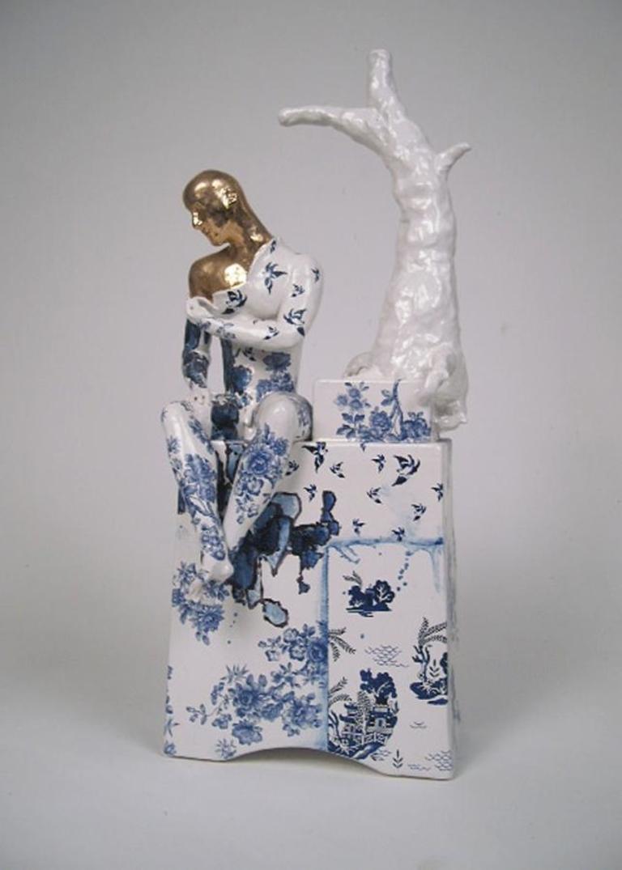 Seated Male Nude with Tree (Precious Tree) - contemporary ceramic sculpture