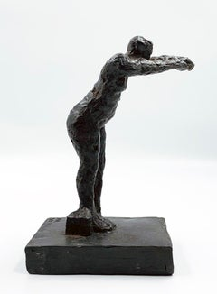 Dancing with my Handbag - contemporary figurative bronze sculpture