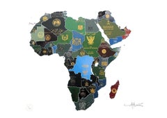 Africa - mixed media passport map print hand painted
