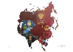 Asia I - mixed media passport map print hand painted