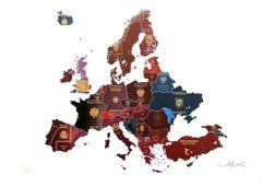 Europe - mixed media passport map print hand painted