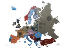 Europe 1930s - mixed media passport map print hand painted