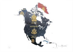 North America - mixed media passport map print hand painted