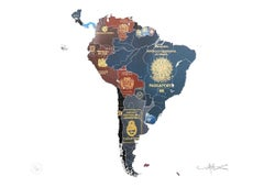 South America - mixed media passport map print hand painted