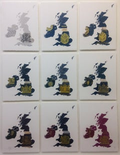 UK & Ireland White - mixed media passport map print hand painted