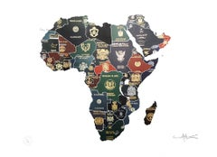 Africa 1960s - mixed media passport map print hand painted