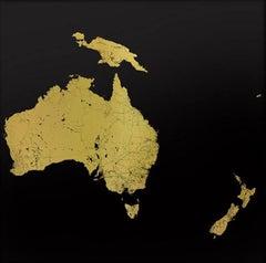 Sacred Continent Australasia (gold australasia map on dibond)