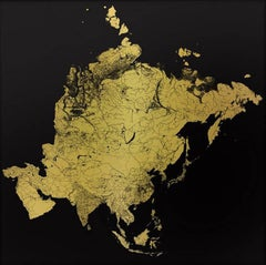 Sacred Continent Asia (gold asia map on dibond)