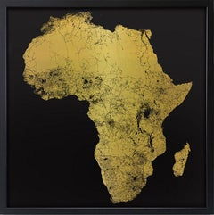 Sacred Continent Africa (gold africa map on dibond)