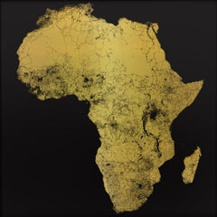 Sacred Continent Africa - contemporary gold map black background paper print