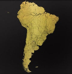 Sacred Continent South America (gold south america map on dibond)
