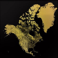 Sacred Continent North America (gold north america map on dibond)