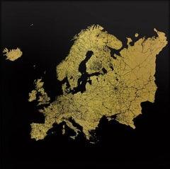 Sacred Continent Europe (gold europe map on dibond)