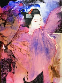 Pink Maiko - colourful ink and watercolour painting