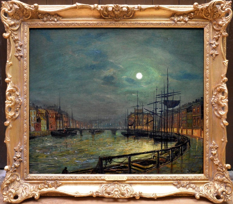 Walter Linsley Meegan Landscape Painting - Whitby Harbour by Moonlight - 19th Century Oil Painting pupil Atkinson Grimshaw