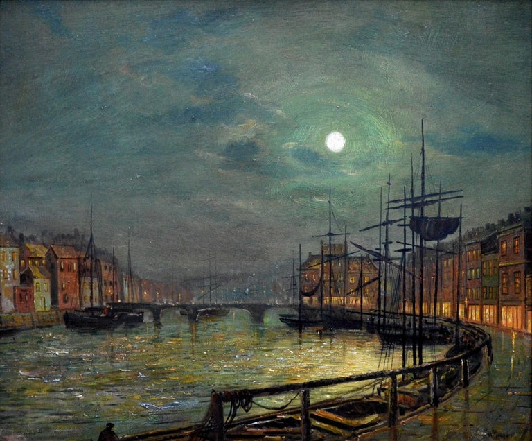 This is a fine late 19th century oil painting depicting 'Whitby Harbour by Moonlight' by the very popular British artist and former pupil of John Atkinson Grimshaw, Walter Linsley Meegan (1859-1944). The painting is signed by the artist and sold in