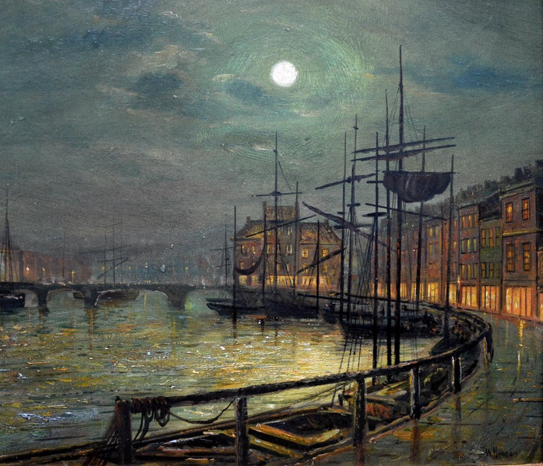 Whitby Harbour by Moonlight - 19th Century Oil Painting pupil Atkinson Grimshaw For Sale 1
