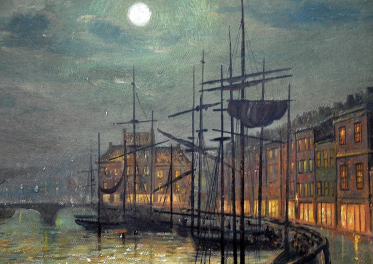 Whitby Harbour by Moonlight - 19th Century Oil Painting pupil Atkinson Grimshaw For Sale 4