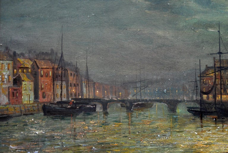 Whitby Harbour by Moonlight - 19th Century Oil Painting pupil Atkinson Grimshaw For Sale 2