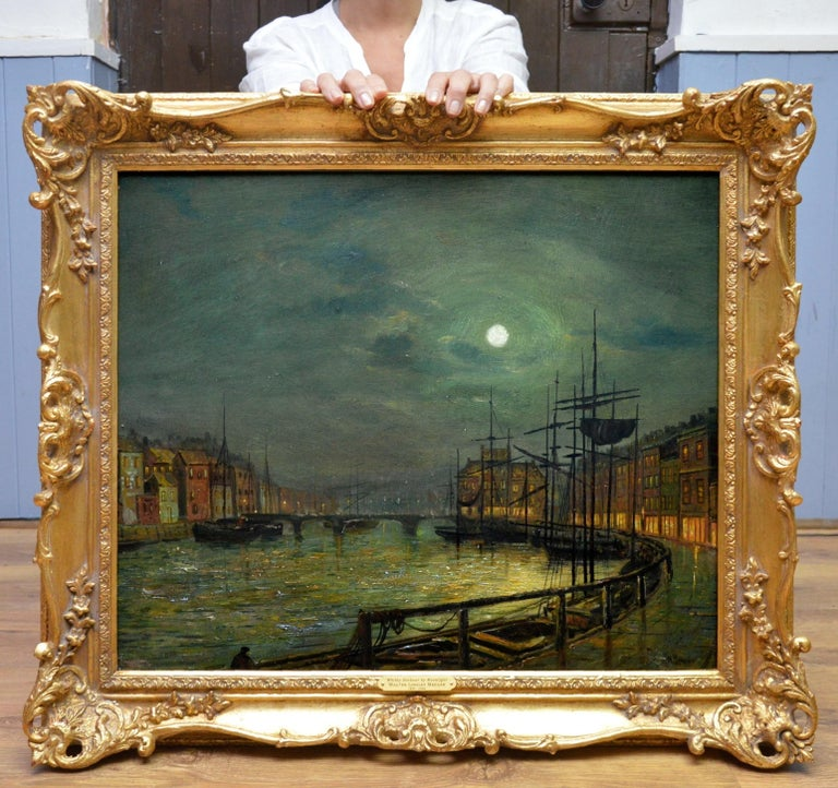 Whitby Harbour by Moonlight - 19th Century Oil Painting pupil Atkinson Grimshaw - Black Landscape Painting by Walter Linsley Meegan