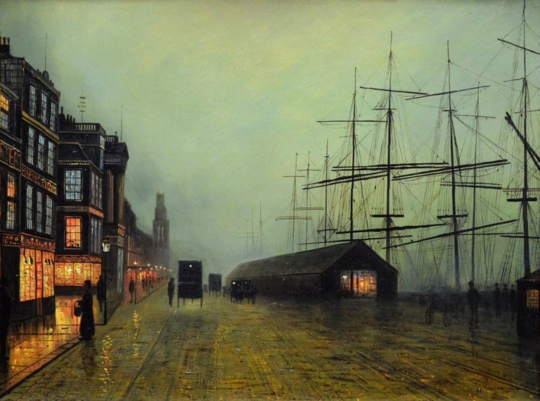 Glasgow Docks - Moonlight Nocturne Landscape - Pupil of Atkinson Grimshaw - Victorian Painting by Walter Linsley Meegan
