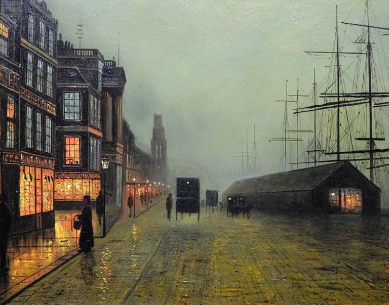 Glasgow Docks - Moonlight Nocturne Landscape - Pupil of Atkinson Grimshaw - Brown Landscape Painting by Walter Linsley Meegan