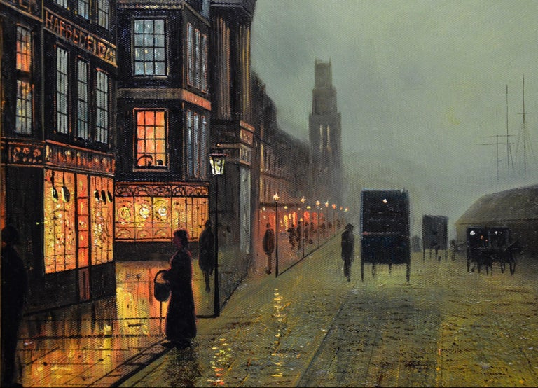 This is a fine original antique oil painting depicting a Victorian scene of 'Glasgow Docks' by moonlight by the very popular British artist and former pupil of John Atkinson Grimshaw, Walter Linsley Meegan (1859-1944). The painting is signed by the