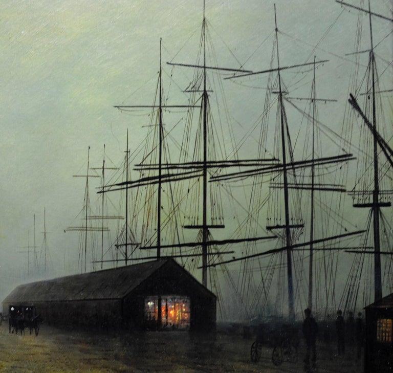 Glasgow Docks - Moonlight Nocturne Landscape - Pupil of Atkinson Grimshaw For Sale 2
