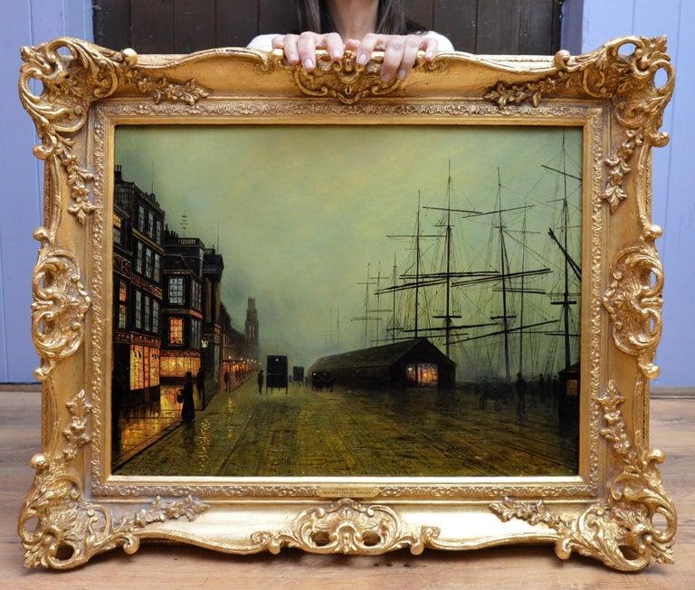 Glasgow Docks - Moonlight Nocturne Landscape - Pupil of Atkinson Grimshaw - Painting by Walter Linsley Meegan
