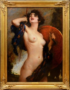 The Valkyre - Very Large 19th Century Nude Oil Painting - Female Warrior Goddess
