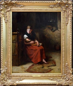 Little Mother - 19th Century Social Realism Oil Painting Charles Dickens