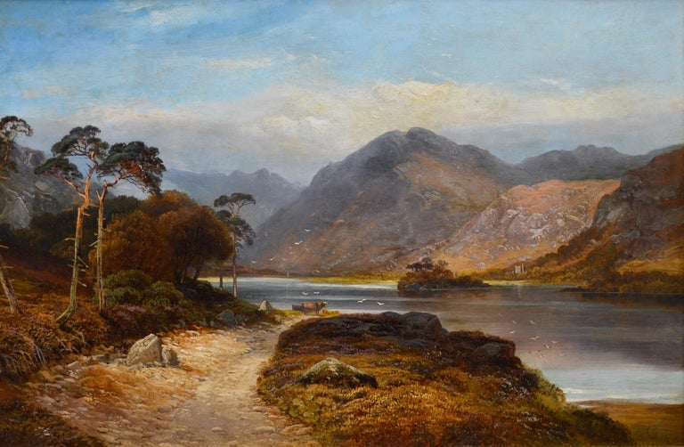 This is a very large fine 19th century oil on canvas depicting a magnificent summertime view of 'Loch Lomond' in the Highlands of Scotland by the renowned Victorian landscape painter Clarence Henry Roe (1850-1909). The painting is signed by the