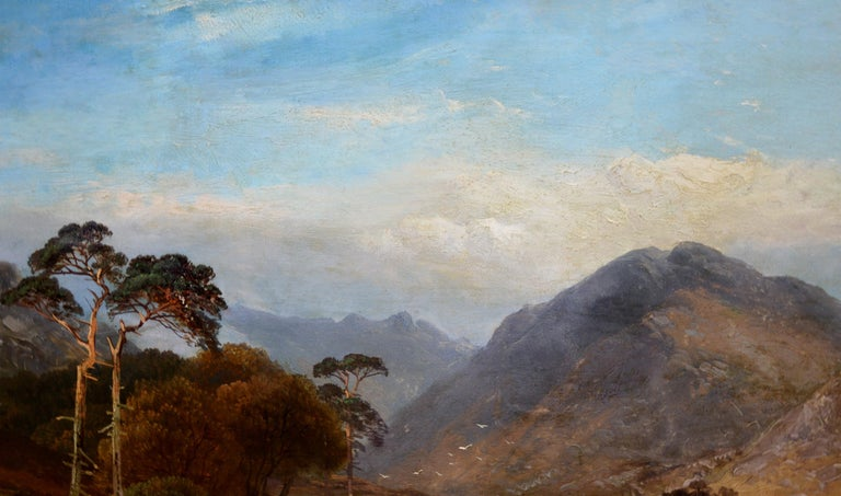 Loch Lomond - 19th Century Landscape Oil Painting of the Scottish Highlands For Sale 3