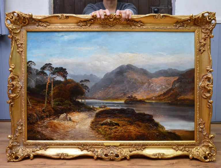 Loch Lomond - 19th Century Landscape Oil Painting of the Scottish Highlands - Brown Landscape Painting by Clarence Henry Roe