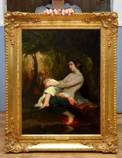 Femme=au-Bain - 19th Century French Nude Landscape Oil Painting