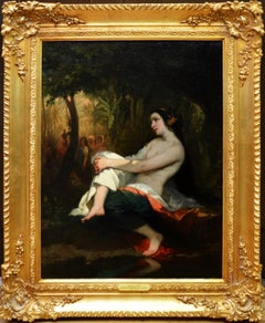 Femme=au-Bain - 19th Century French Nude Landscape Oil Painting