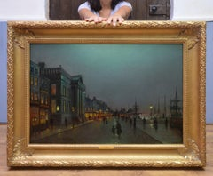 Liverpool - 19th Century Oil Painting Moonlight Street Scene Atkinson Grimshaw