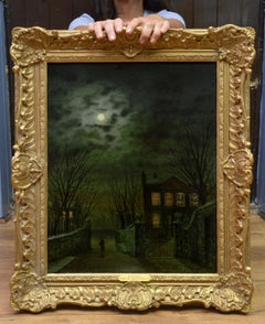 By Moonlight - 19th Century Oil Painting of Victorian Street - Atkinson Grimshaw