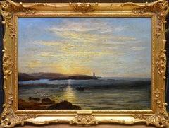 Sunset, Caernarfon Bay - 19th Century Oil Painting North Wales Coastal Landscape
