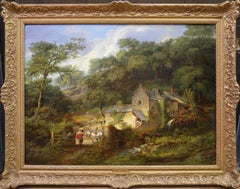 Berry Pomeroy Mill - 19th Century English Landscape Oil Painting Albert Museum
