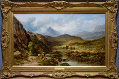 Snowdon in Summertime - 19th Century Welsh Mountain Landscape Oil Painting
