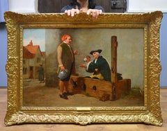 Welcome Refreshment - 19th Century Oil Painting of Georgian Gentleman in Stocks