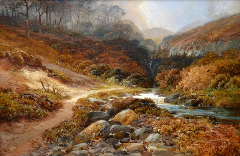 This is a very large fine 19th century oil on canvas depicting a magnificent view of 'Steall Falls and the Nevis Gorge' near Fort William in the Scottish Highlands by the renowned Victorian landscape painter Clarence Henry Roe (1850-1909). The