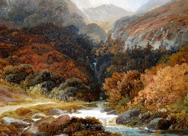 Steall Falls and the Nevis Gorge - 19th Century Scottish Highland Oil Painting For Sale 1