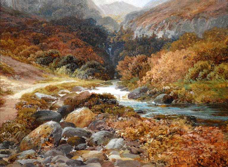 Steall Falls and the Nevis Gorge - 19th Century Scottish Highland Oil Painting For Sale 3
