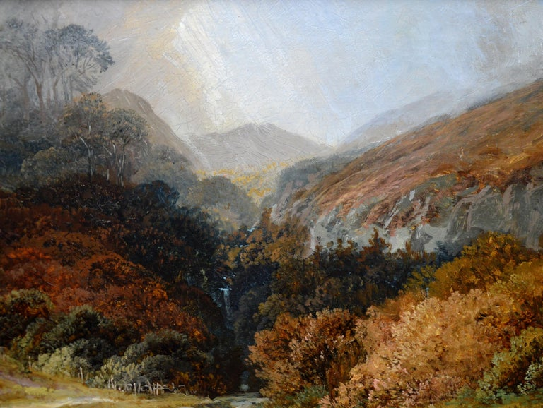 Steall Falls and the Nevis Gorge - 19th Century Scottish Highland Oil Painting For Sale 5