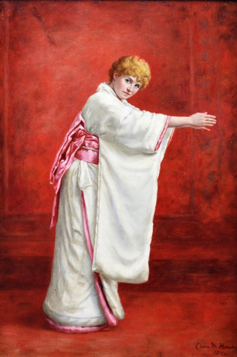 Girl in a Kimono - 19th Century Portrait of Red Haired Beauty - Victorian Painting by Clara Murray Hawkes