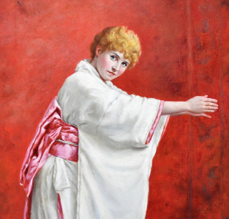 Girl in a Kimono - 19th Century Portrait of Red Haired Beauty - Brown Portrait Painting by Clara Murray Hawkes