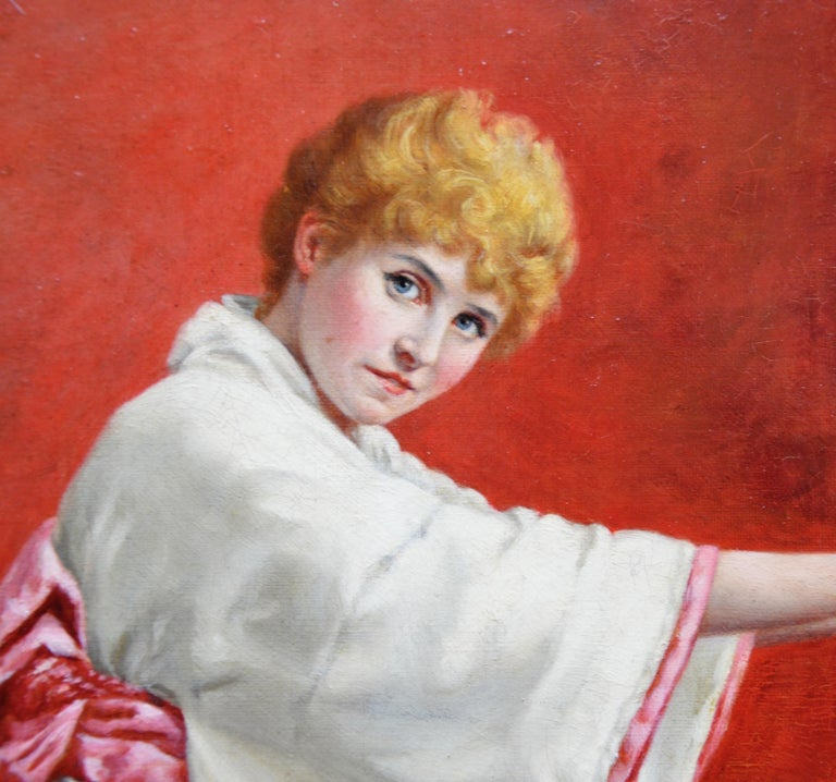 Girl in a Kimono - 19th Century Portrait of Red Haired Beauty For Sale 2