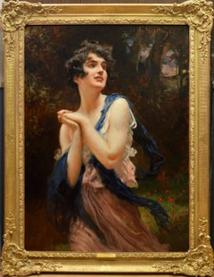 The Wood Nymph - Early 20th Century Portrait Oil Painting of Beautiful Brunette